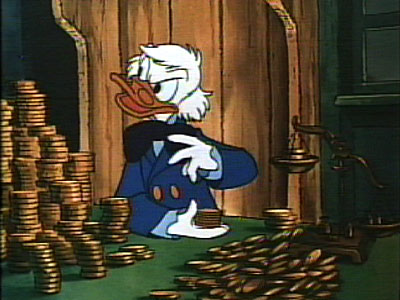 Scrooge counting money